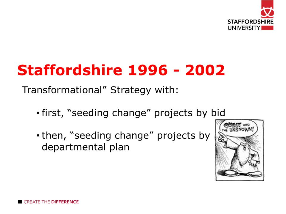 Staffordshire Transformational Strategy with: first, seeding change projects by bid then, seeding change projects by departmental plan
