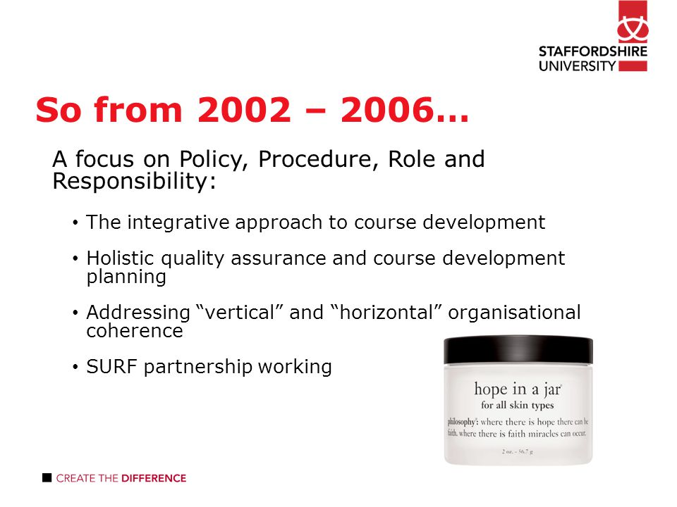 So from 2002 – 2006… A focus on Policy, Procedure, Role and Responsibility: The integrative approach to course development Holistic quality assurance and course development planning Addressing vertical and horizontal organisational coherence SURF partnership working