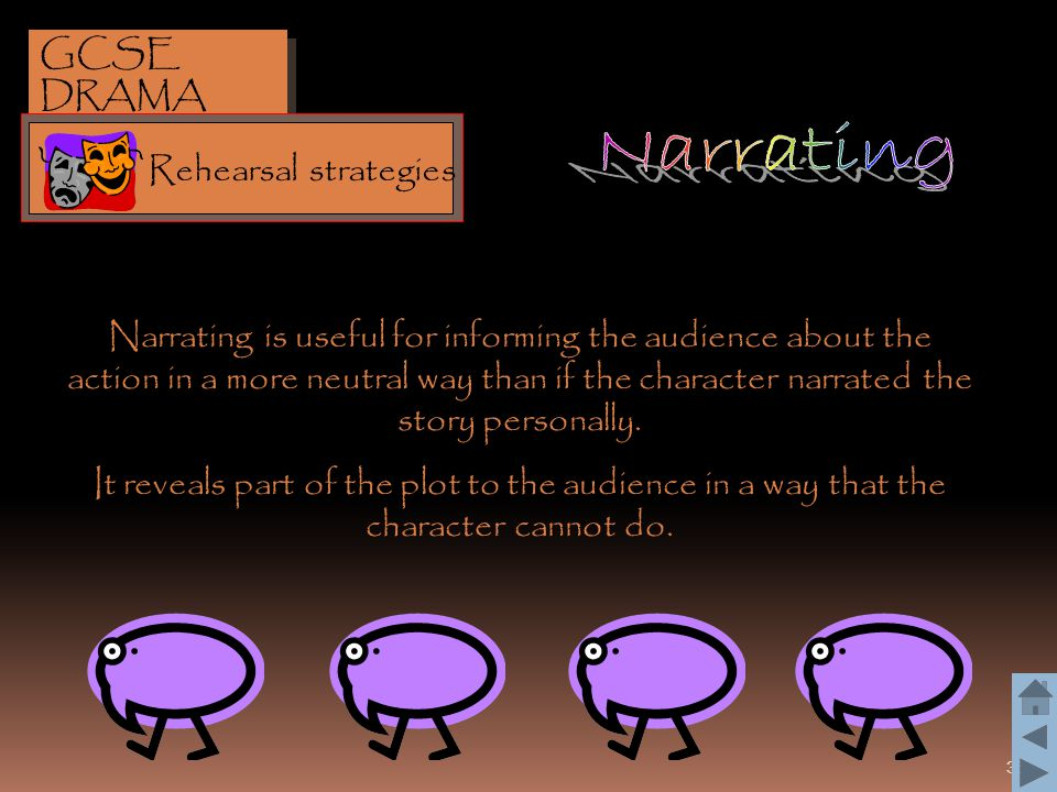 35 Narrating is useful for informing the audience about the action in a more neutral way than if the character narrated the story personally. It revea