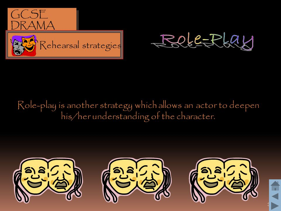 39 Role-play is another strategy which allows an actor to deepen his/her understanding of the character. GCSE DRAMA Rehearsal strategies