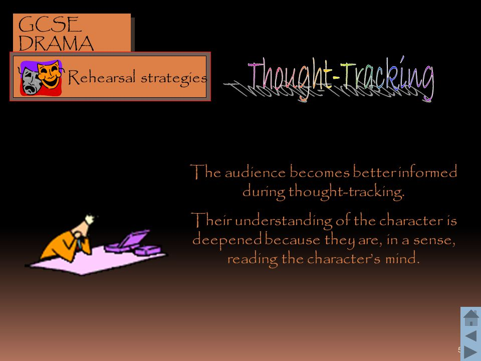 53 The audience becomes better informed during thought-tracking. Their understanding of the character is deepened because they are, in a sense, readin