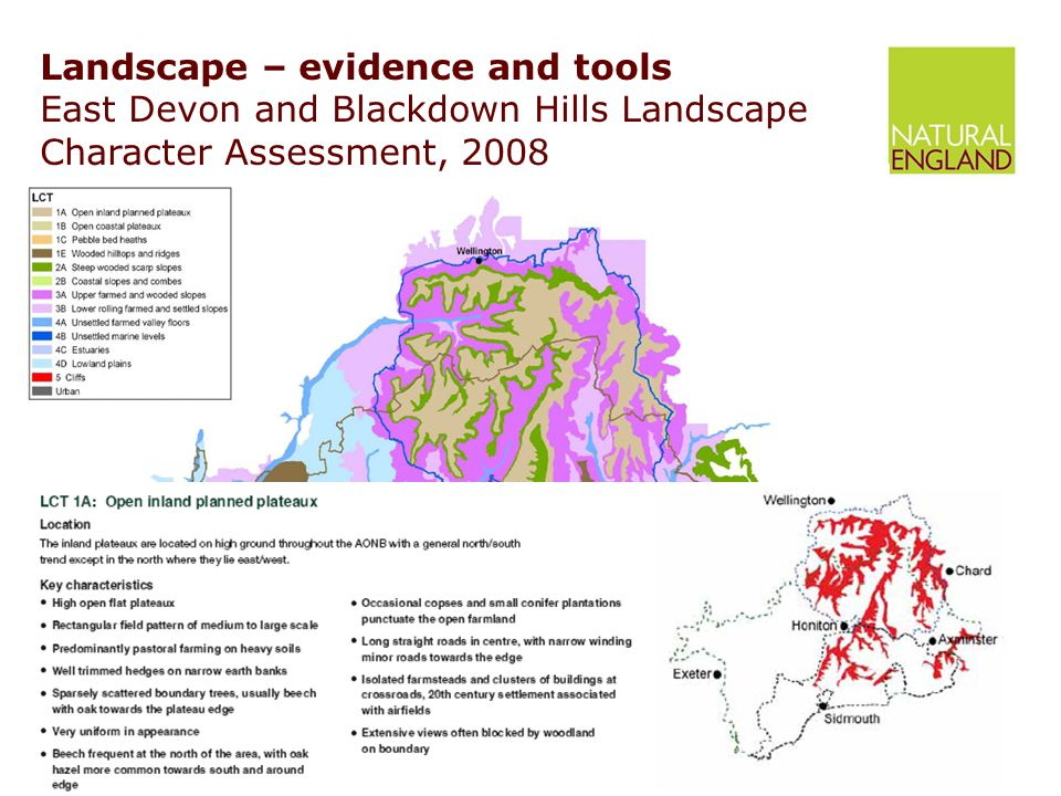 Landscape – evidence and tools East Devon and Blackdown Hills Landscape Character Assessment, 2008