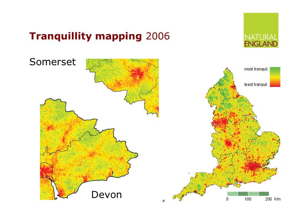 Tranquillity mapping 2006 Devon Somerset