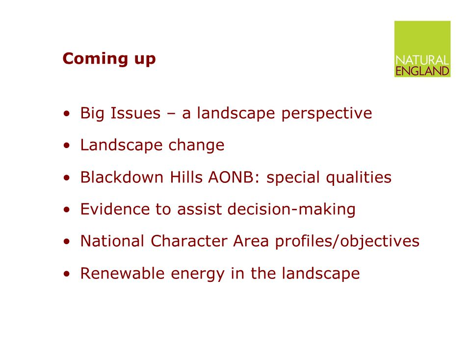 Coming up Big Issues – a landscape perspective Landscape change Blackdown Hills AONB: special qualities Evidence to assist decision-making National Character Area profiles/objectives Renewable energy in the landscape