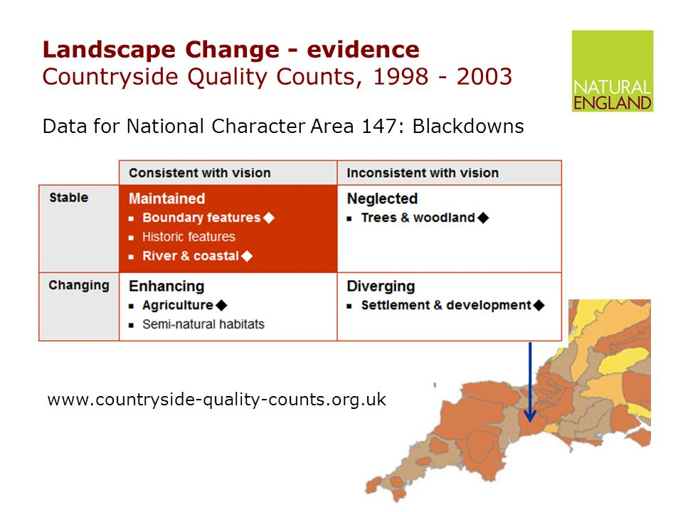 Landscape Change - evidence Countryside Quality Counts, 1998 - 2003 Data for National Character Area 147: Blackdowns www.countryside-quality-counts.org.uk