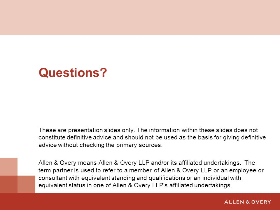 Questions. These are presentation slides only.