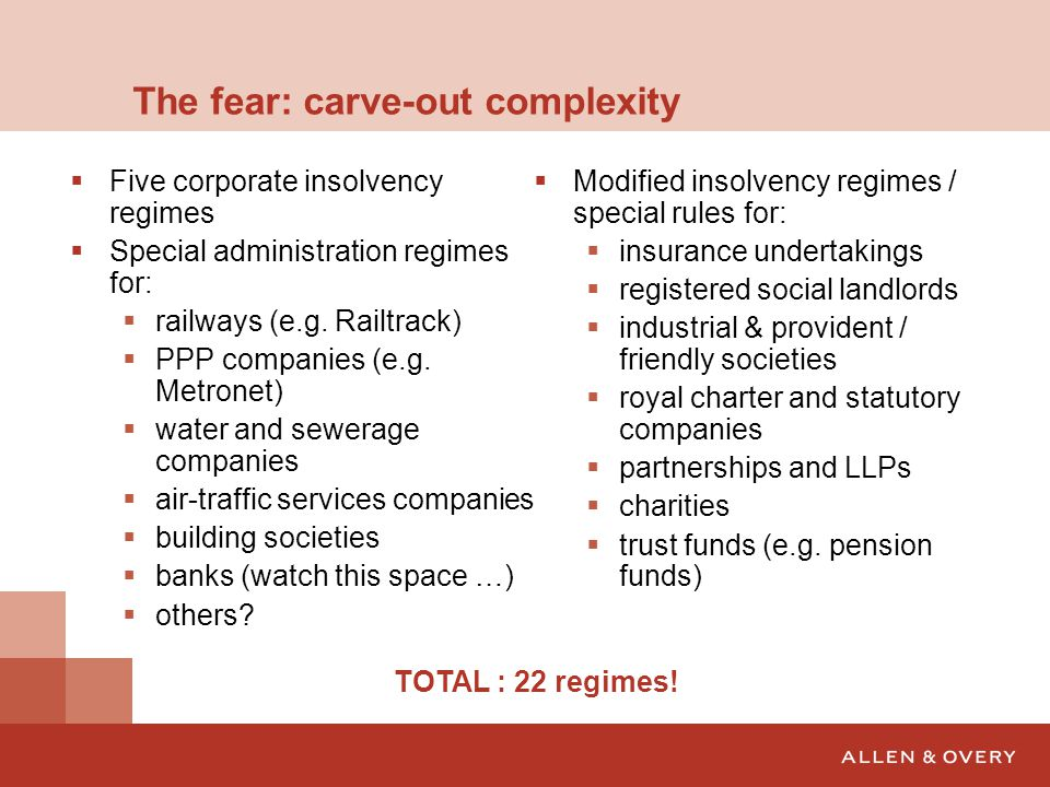 The fear: carve-out complexity  Five corporate insolvency regimes  Special administration regimes for:  railways (e.g.