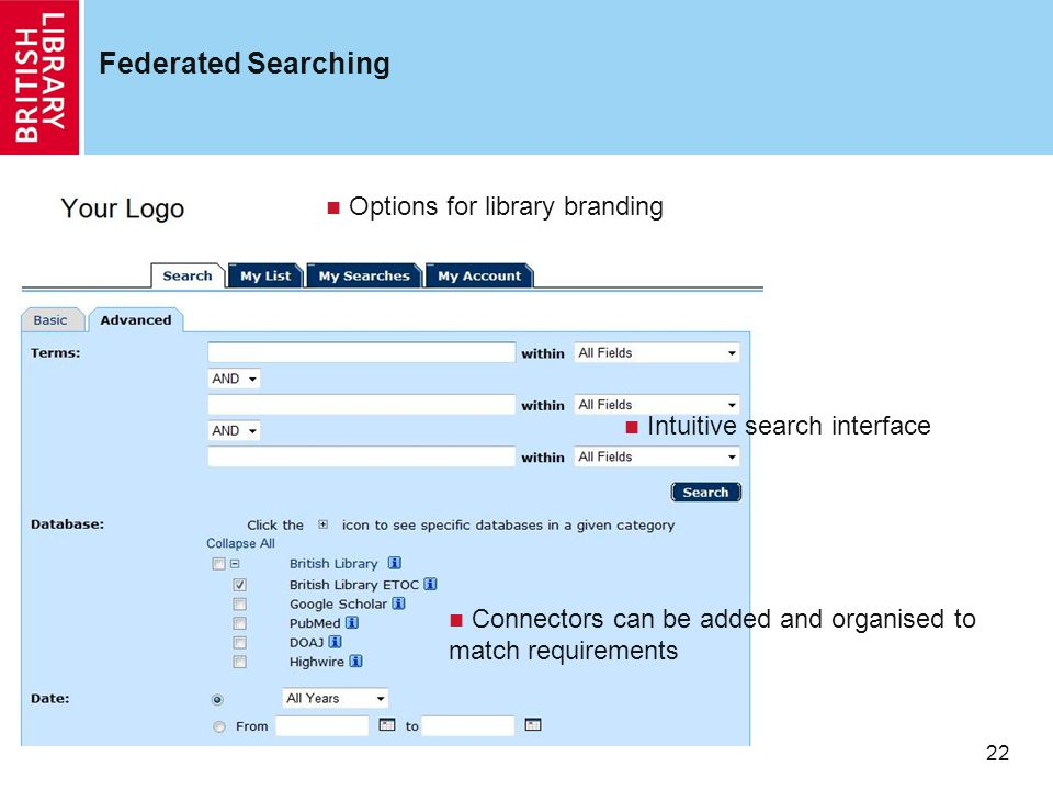 22 Federated Searching Options for library branding Intuitive search interface Connectors can be added and organised to match requirements