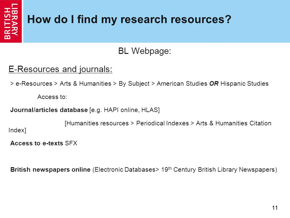 11 How do I find my research resources.