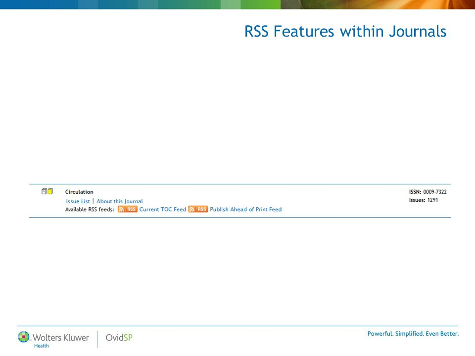 RSS Features within Journals
