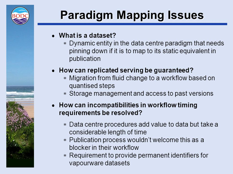 Paradigm Mapping Issues  What is a dataset.