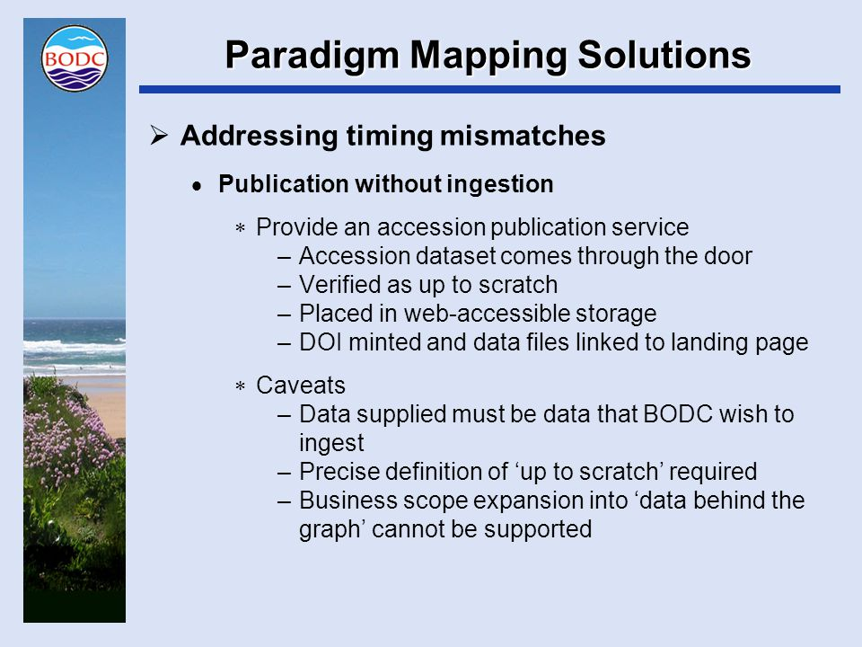Paradigm Mapping Solutions  Addressing timing mismatches  Publication without ingestion  Provide an accession publication service –Accession dataset comes through the door –Verified as up to scratch –Placed in web-accessible storage –DOI minted and data files linked to landing page  Caveats –Data supplied must be data that BODC wish to ingest –Precise definition of 'up to scratch' required –Business scope expansion into 'data behind the graph' cannot be supported