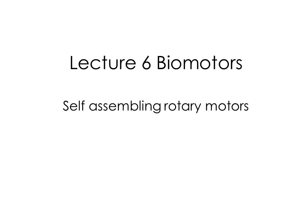 Lecture 6 Biomotors Self assembling rotary motors