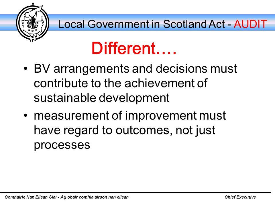 Comhairle Nan Eilean Siar - Ag obair comhla airson nan eileanChief Executive Local Government in Scotland Act - AUDIT Different….
