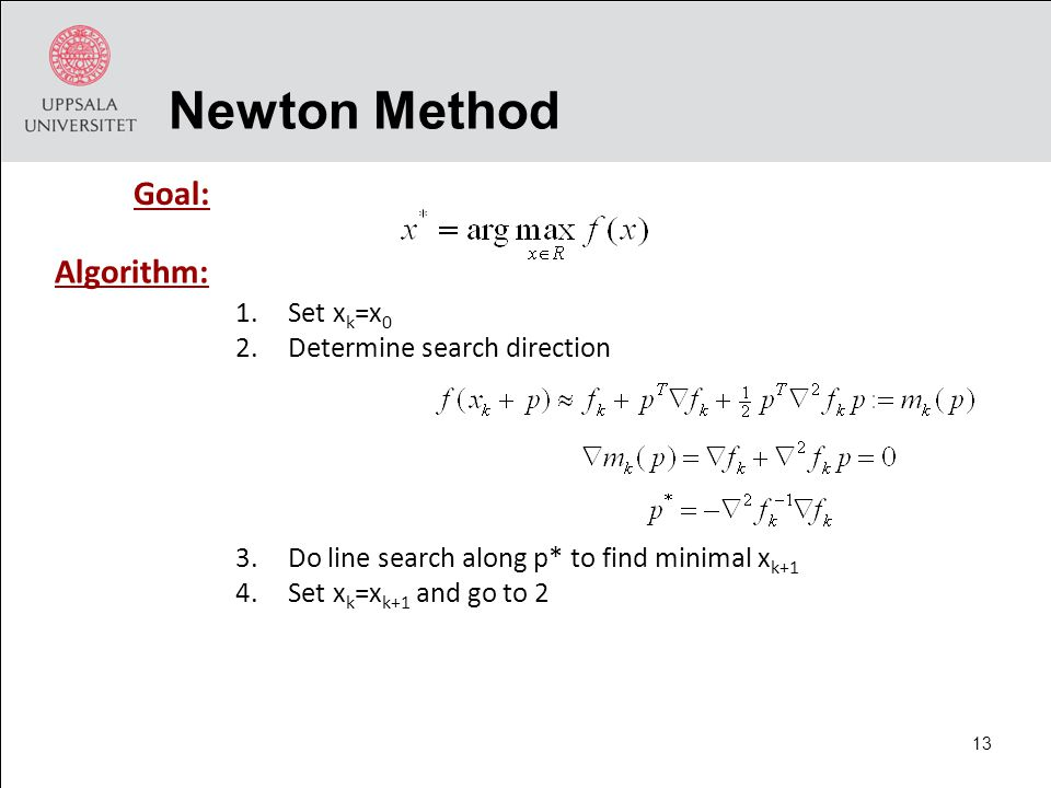1.Set x k =x 0 2.Determine search direction 3.Do line search along p* to find minimal x k+1 4.Set x k =x k+1 and go to 2 Newton Method Goal: Algorithm: 13