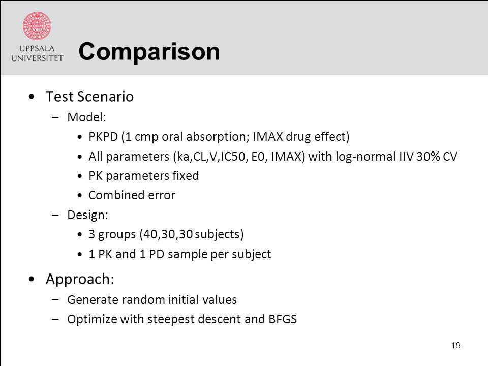 Comparison Test Scenario –Model: PKPD (1 cmp oral absorption; IMAX drug effect) All parameters (ka,CL,V,IC50, E0, IMAX) with log-normal IIV 30% CV PK parameters fixed Combined error –Design: 3 groups (40,30,30 subjects) 1 PK and 1 PD sample per subject Approach: –Generate random initial values –Optimize with steepest descent and BFGS 19