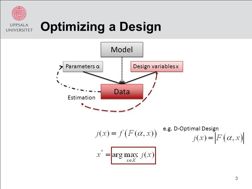 Optimizing a Design Model e.g. D-Optimal Design Parameters α Design variables x 3 Data Estimation