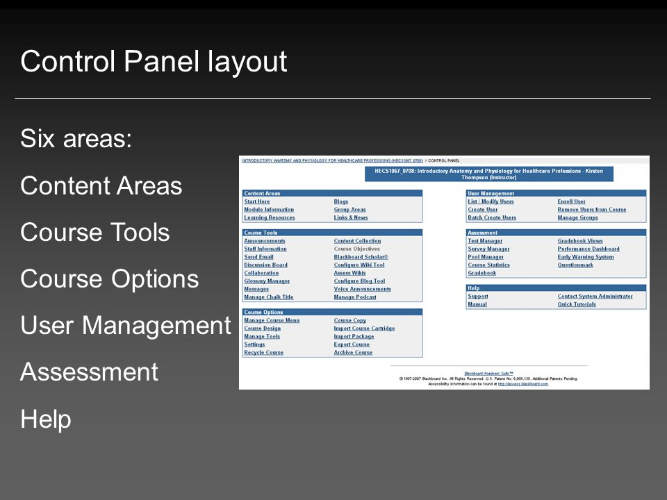 Content Areas Used to organise all course (module) materials Menu Content Areas are visible here.