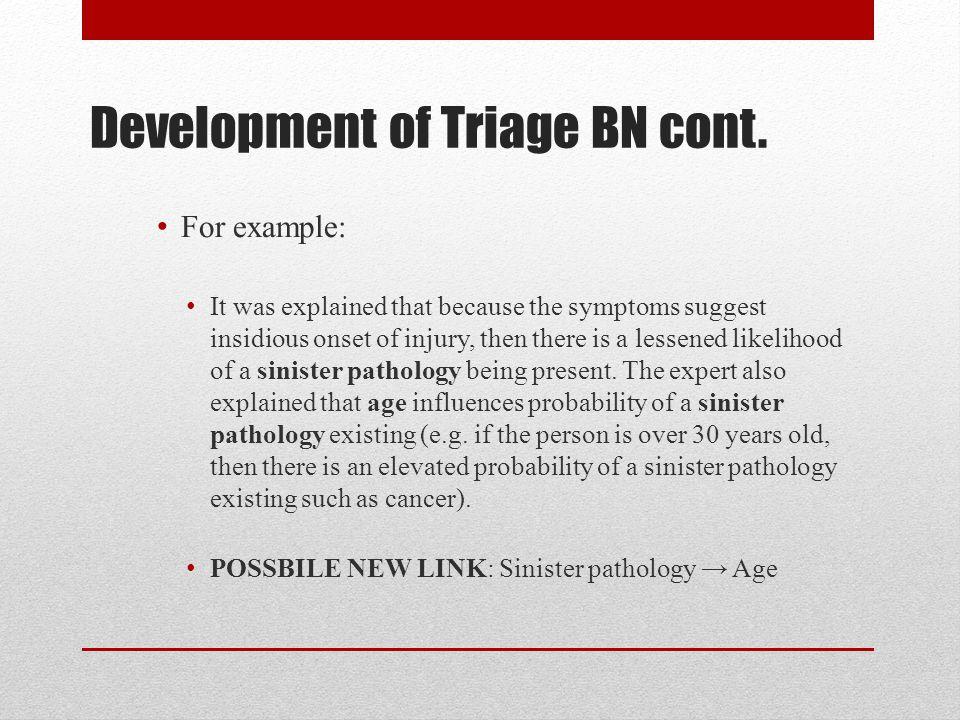 Development of Triage BN cont.