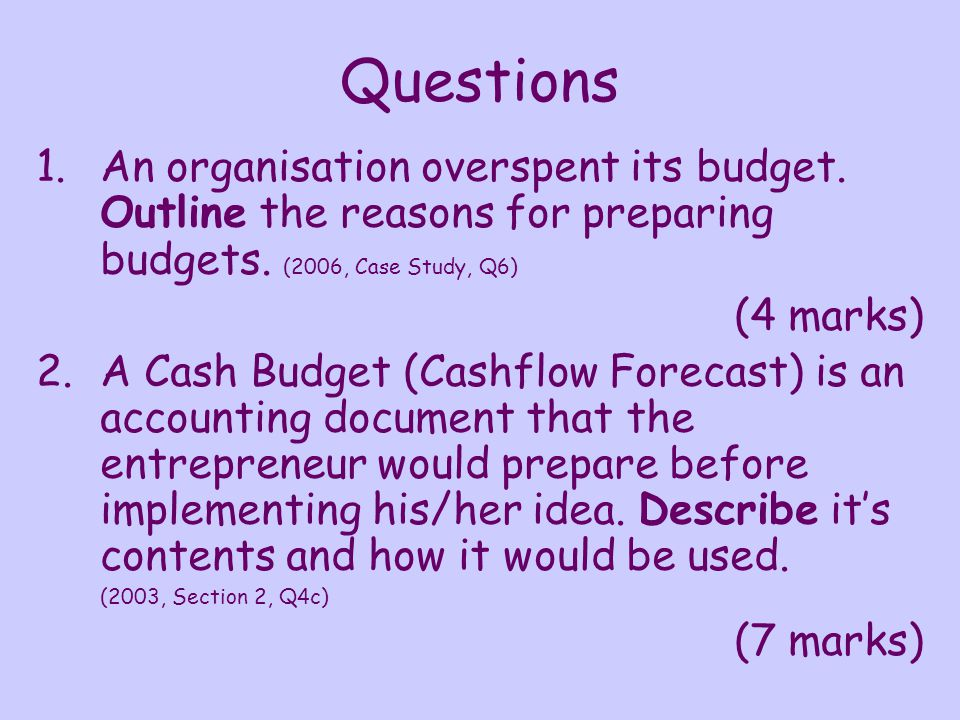 Solutions 1.An organisation overspent its budget.Outline the reasons for preparing budgets.