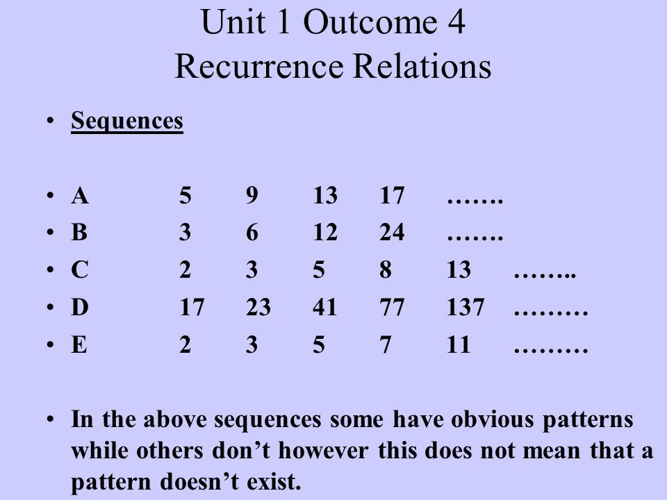 Notation Suppose we write the terms of a sequence as u 1, u 2, u 3, …….., u n-1, u n, u n+1, ……...