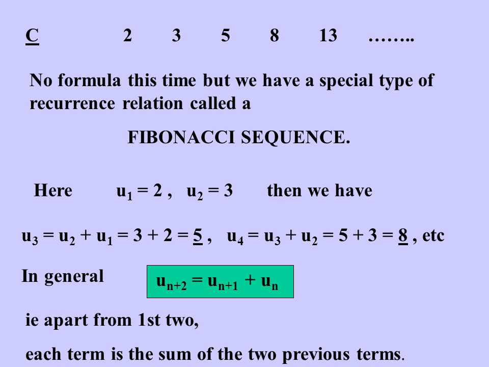 D17234177137……… This sequence doesn't have a recurrence relation but the terms can be found using the formula u n = n 3 - n + 17 Quite a tricky formula but it does work...