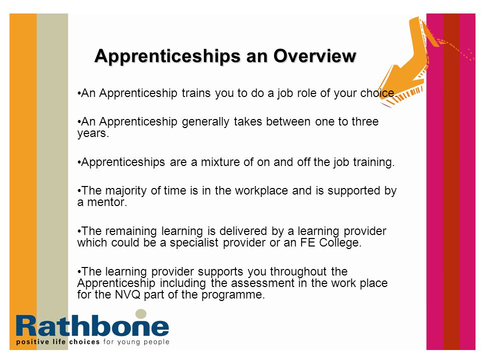 The Framework An Apprenticeship is made up of various parts 1.What You Need to Know - A Technical Certificate Examples: –Certificate in Supporting Youth Work awarded by City & Guilds –Certificate in Motor Vehicle Repair awarded by ABC 2.What you need to be able to do - Example: –Youth Work NVQ 3.Transferable Skills - Key Skills/ Functional Skills Example: –Communication Level 2 Sometimes there are additional requirements: Example for childcare –Paediatric First aid –Safeguarding Various Parts of Framework Technical certificate NVQ Additional Requirements Key skills Functional skills