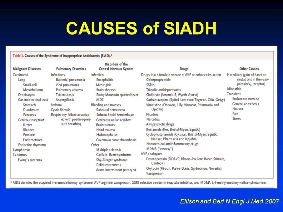 CAUSES of SIADH Ellison and Berl N Engl J Med 2007