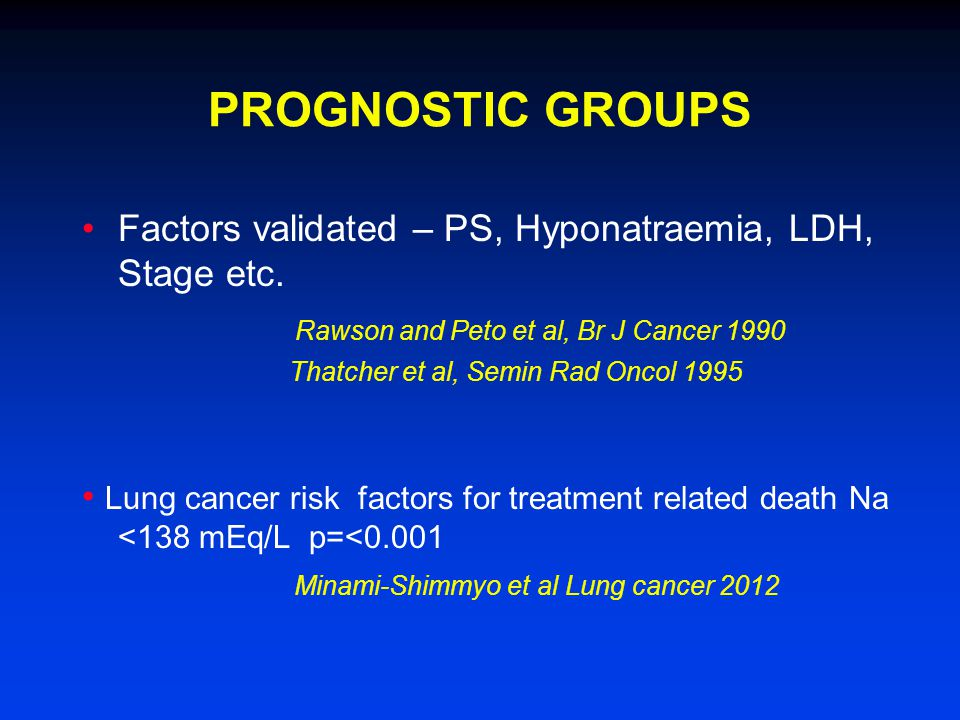PROGNOSTIC GROUPS Factors validated – PS, Hyponatraemia, LDH, Stage etc.
