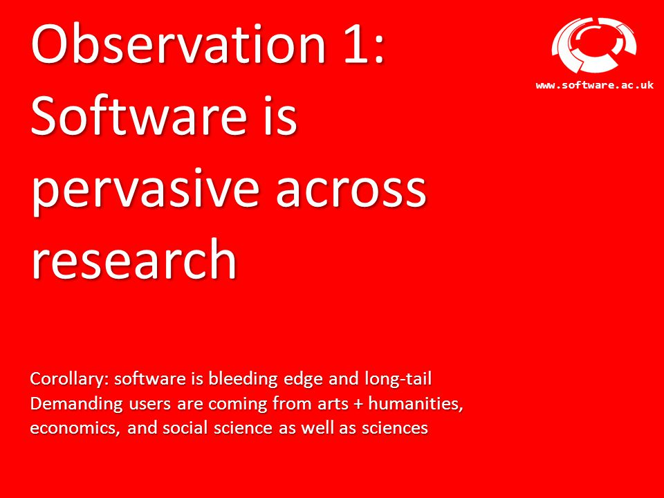 Software Sustainability Institute www.software.ac.uk Gap 4: Software Maturity and Management Software proliferation Time Customisation InnovationConsolidation Not all software should make it to the next stage Management changes through time, requiring planning