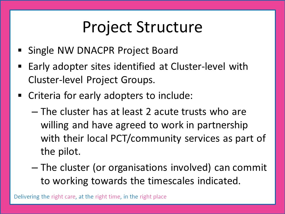Delivering the right care, at the right time, in the right place Project Structure  Single NW DNACPR Project Board  Early adopter sites identified a