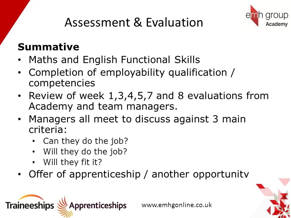 Assessment & Evaluation Summative Maths and English Functional Skills Completion of employability qualification / competencies Review of week 1,3,4,5,
