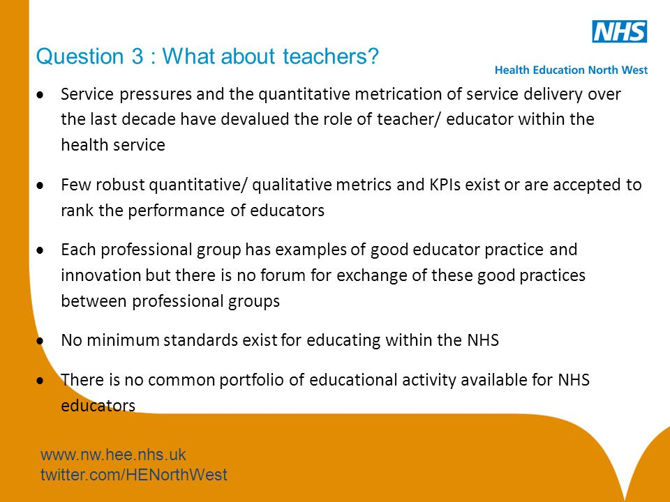 www.nw.hee.nhs.uk twitter.com/HENorthWest Question 3 : What about teachers.