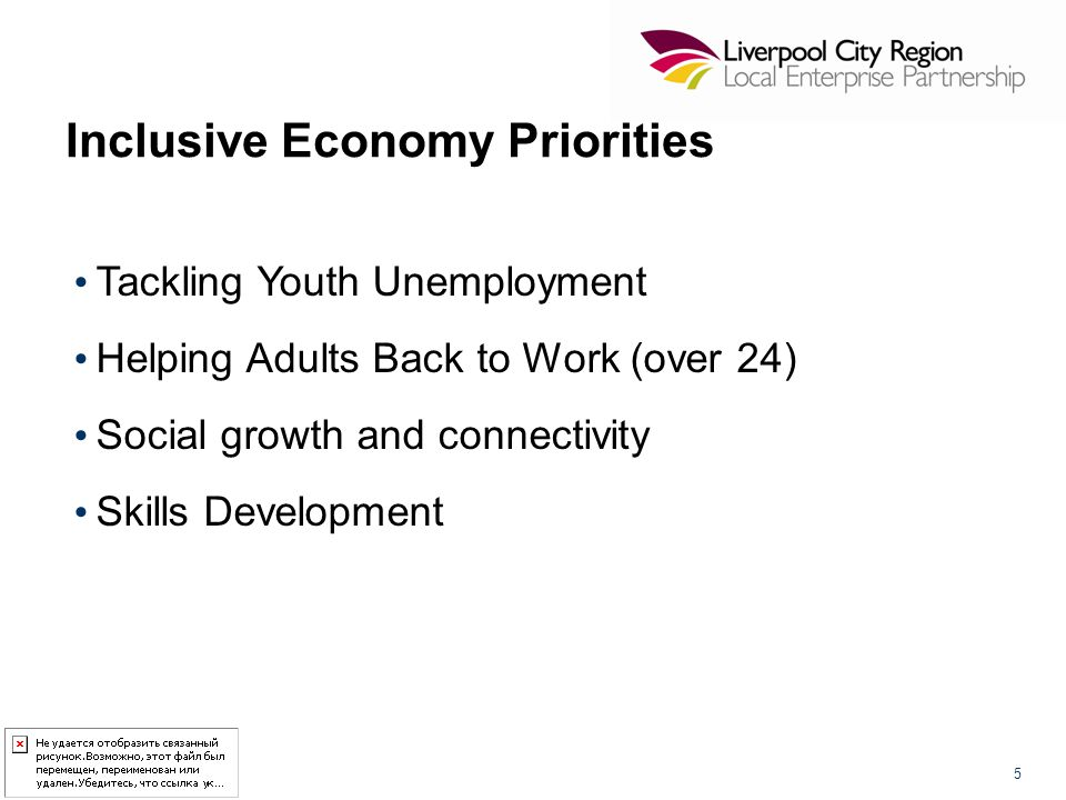 Inclusive Economy Priorities Tackling Youth Unemployment Helping Adults Back to Work (over 24) Social growth and connectivity Skills Development 5