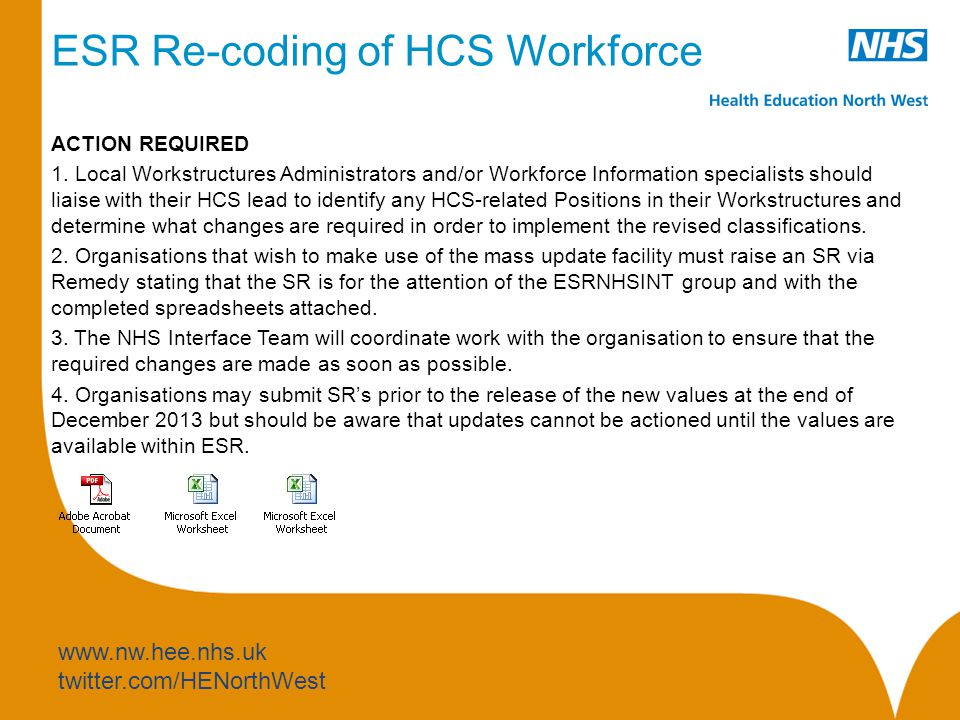www.nw.hee.nhs.uk twitter.com/HENorthWest ESR Re-coding of HCS Workforce ACTION REQUIRED 1.