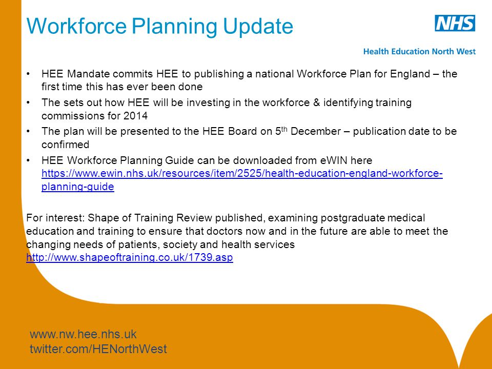 www.nw.hee.nhs.uk twitter.com/HENorthWest Workforce Planning Update HEE Mandate commits HEE to publishing a national Workforce Plan for England – the first time this has ever been done The sets out how HEE will be investing in the workforce & identifying training commissions for 2014 The plan will be presented to the HEE Board on 5 th December – publication date to be confirmed HEE Workforce Planning Guide can be downloaded from eWIN here https://www.ewin.nhs.uk/resources/item/2525/health-education-england-workforce- planning-guide https://www.ewin.nhs.uk/resources/item/2525/health-education-england-workforce- planning-guide For interest: Shape of Training Review published, examining postgraduate medical education and training to ensure that doctors now and in the future are able to meet the changing needs of patients, society and health services http://www.shapeoftraining.co.uk/1739.asp http://www.shapeoftraining.co.uk/1739.asp