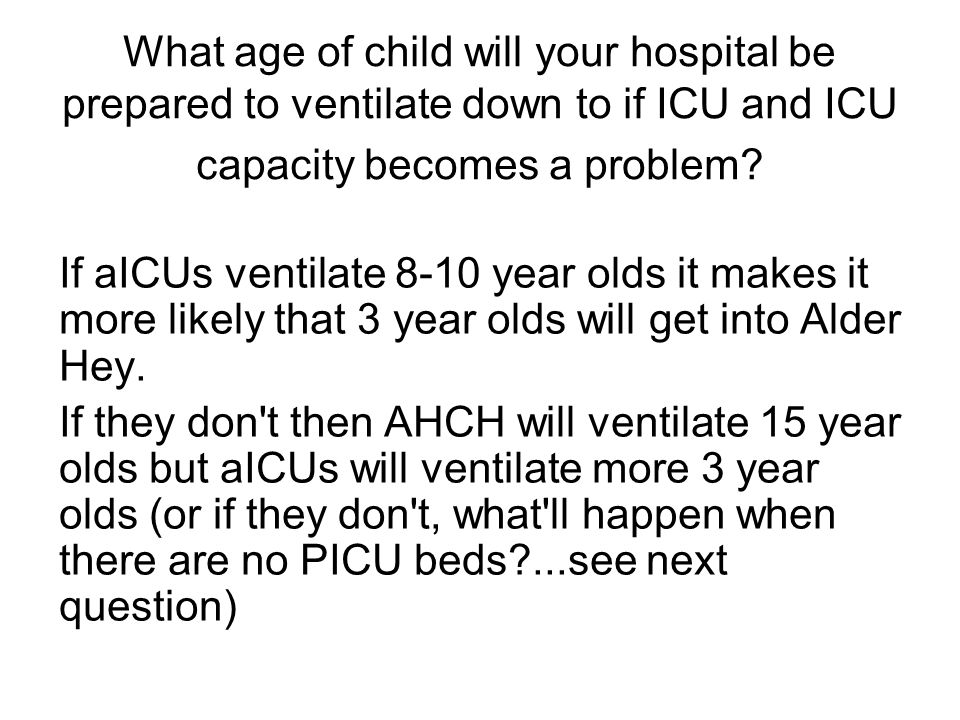 What age of child will your hospital be prepared to ventilate down to if ICU and ICU capacity becomes a problem.