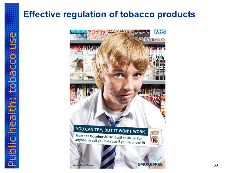 Public health: tobacco use 33 Effective regulation of tobacco products