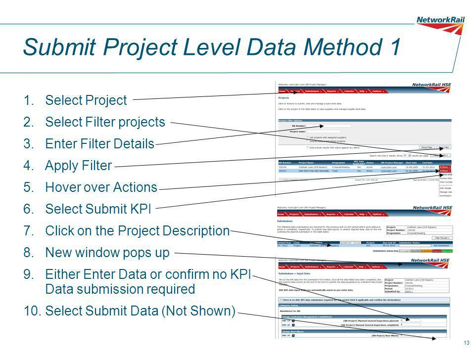 13 Submit Project Level Data Method 1 1.Select Project 2.Select Filter projects 3.Enter Filter Details 4.Apply Filter 5.Hover over Actions 6.Select Submit KPI 7.Click on the Project Description 8.New window pops up 9.Either Enter Data or confirm no KPI Data submission required 10.Select Submit Data (Not Shown)