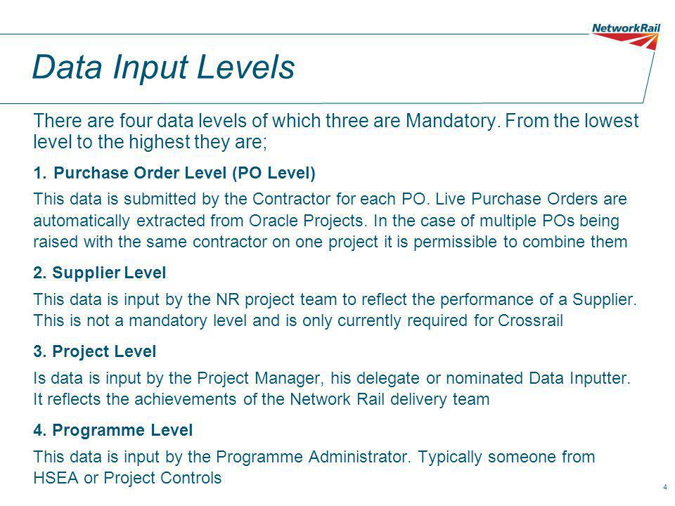4 Data Input Levels There are four data levels of which three are Mandatory.
