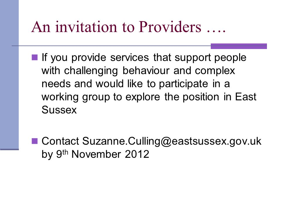 An invitation to Providers ….