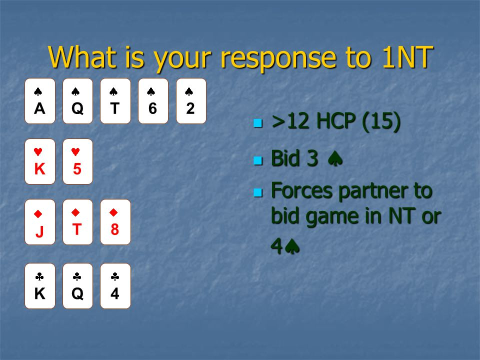 What is your response to 1NT >12 HCP (15) >12 HCP (15) Bid 3  Bid 3  Forces partner to bid game in NT or 4  Forces partner to bid game in NT or 4  AA QQ TT 66 22 K 5 JJ TT 88 KK QQ 44