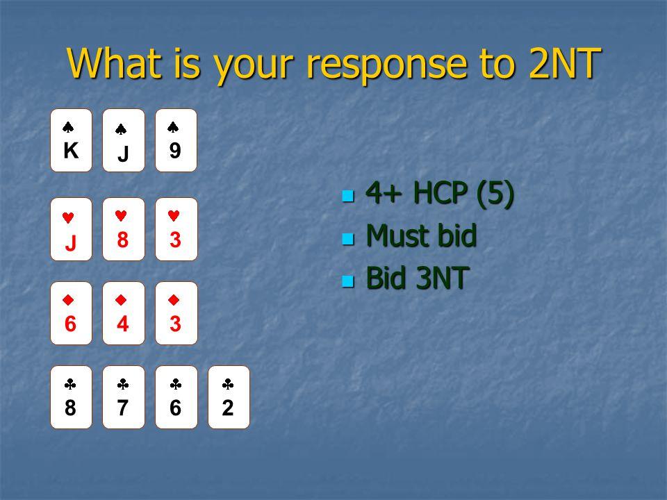 What is your response to 2NT 4+ HCP (5) 4+ HCP (5) Must bid Must bid Bid 3NT Bid 3NT JJ 99 J 8 3 66 44 33 88 77 66 22 KK