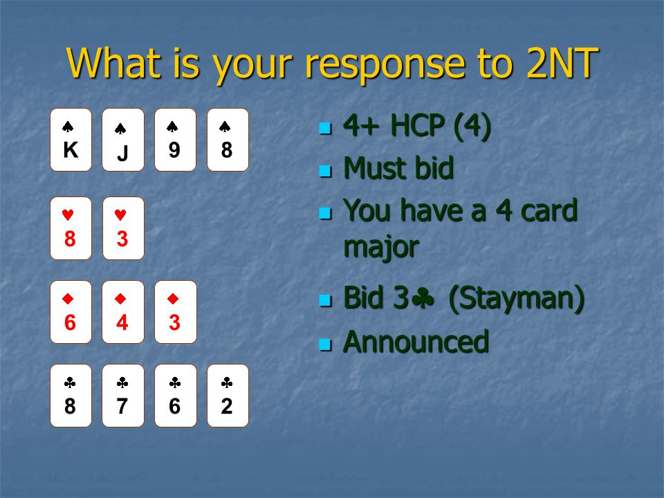 What is your response to 2NT 4+ HCP (4) 4+ HCP (4) Must bid Must bid You have a 4 card major You have a 4 card major Bid 3  (Stayman) Bid 3  (Stayman) Announced Announced JJ 99 8 3 66 44 33 88 77 66 22 KK 88