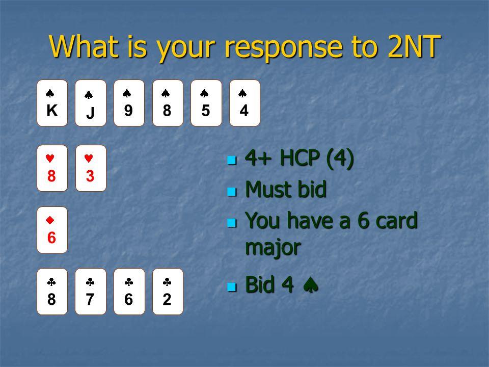 What is your response to 2NT 4+ HCP (4) 4+ HCP (4) Must bid Must bid You have a 6 card major You have a 6 card major Bid 4  Bid 4  JJ 99 8 3 66 88 77 66 22 KK 88 55 44