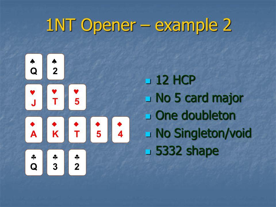 1NT Opener – example 2 12 HCP 12 HCP No 5 card major No 5 card major One doubleton One doubleton No Singleton/void No Singleton/void 5332 shape 5332 shape QQ 22 J T 5 TT 55 44 QQ 33 22 AA KK