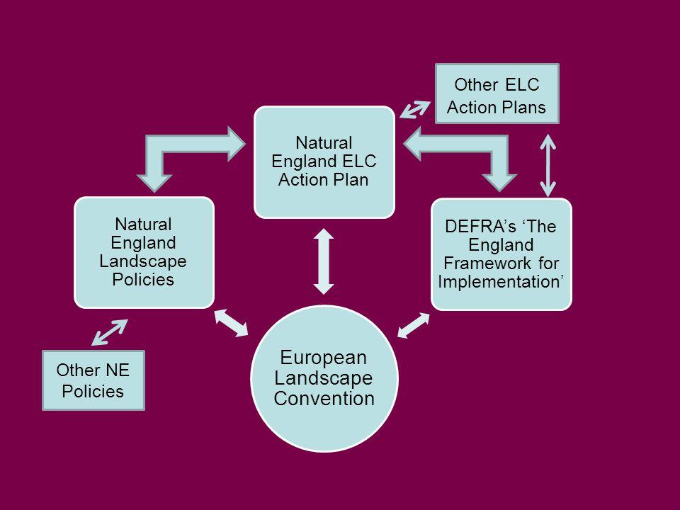 European Landscape Convention Natural England Landscape Policies Natural England ELC Action Plan DEFRA's 'The England Framework for Implementation' Other NE Policies Other ELC Action Plans