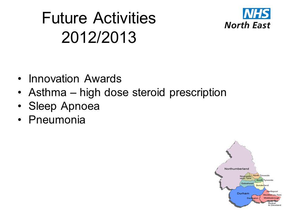 Future Activities 2012/2013 Innovation Awards Asthma – high dose steroid prescription Sleep Apnoea Pneumonia