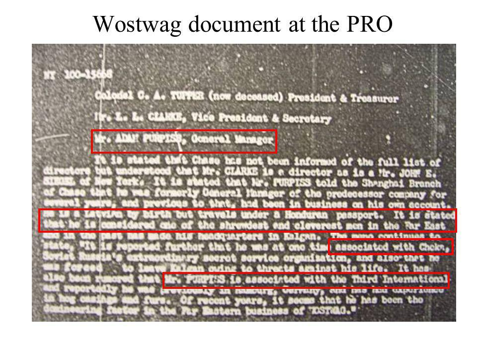 Wostwag document at the PRO