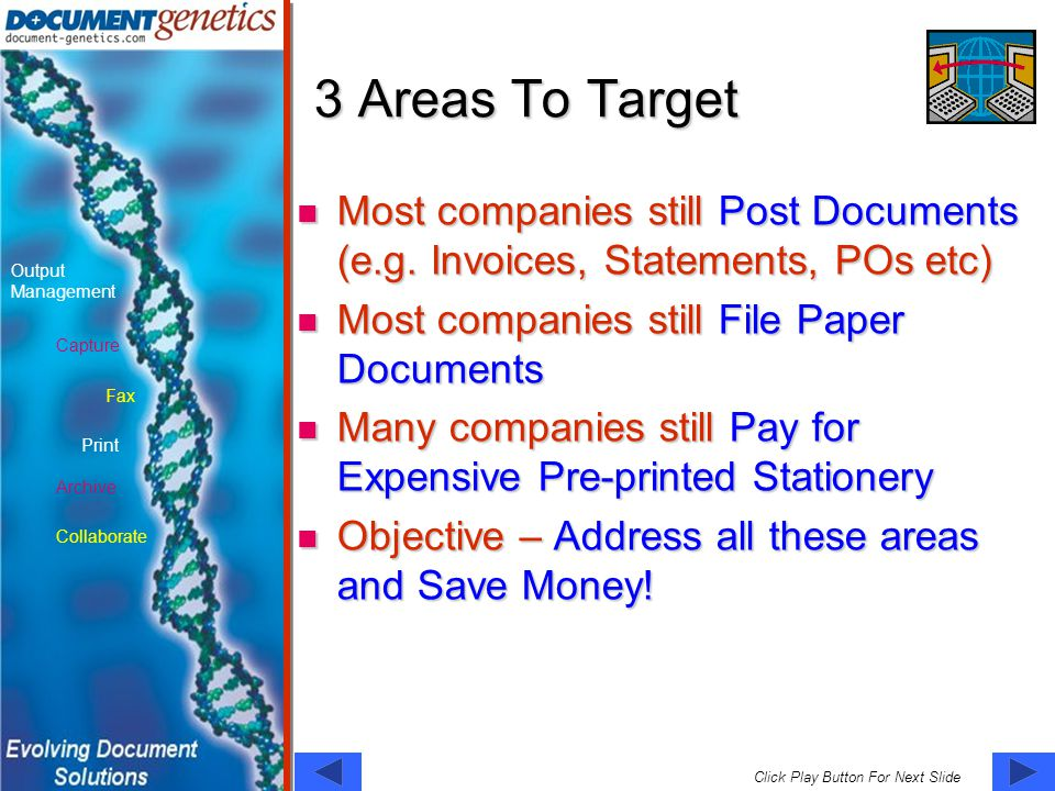 Capture Fax Print Output Management Archive Collaborate Click Play Button For Next Slide 3 Areas To Target Most companies still Post Documents (e.g.